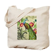 Vintage French peacock and floral collage Tote Bag