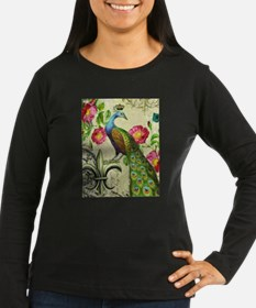 Vintage French peacock and floral collage Long Sle