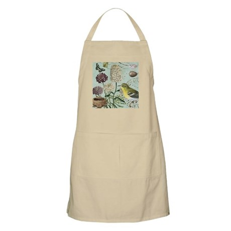 Vintage French bird and nest Apron