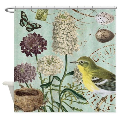 vintage french bird and nest shower curtain
