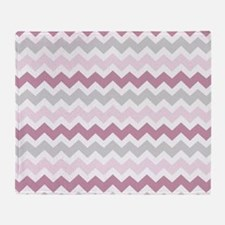 Pink Grey White Chevron Stripes Throw Blanket