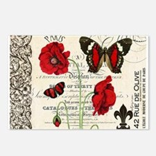 Vintage French red poppies collage Postcards (Pack