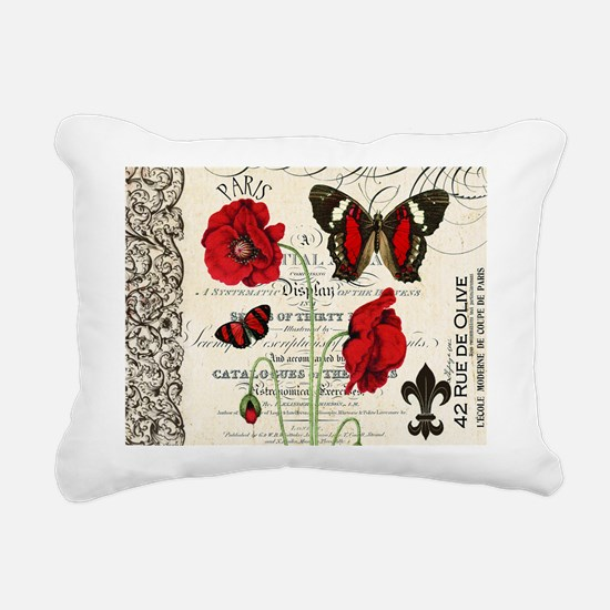 Vintage French red poppies collage Rectangular Can