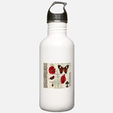 Vintage French red poppies collage Water Bottle