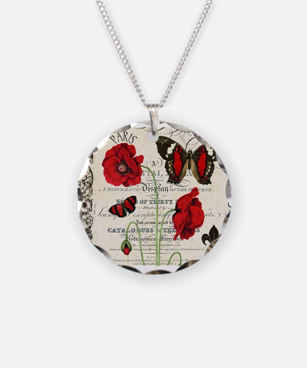 Vintage French red poppies collage Necklace