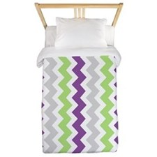 Lime Purple Grey Chevrons Twin Duvet