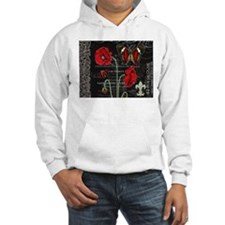 Vintage French red poppies collage Hoodie
