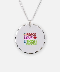 Peace Love Irish Stepdance Necklace Circle Charm