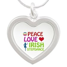 Peace Love Irish Stepdance Silver Heart Necklace