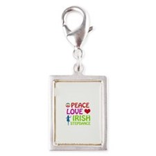 Peace Love Irish Stepdance Silver Portrait Charm