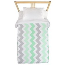 Mint Green Grey Chevron Twin Duvet