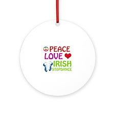 Peace Love Irish Stepdance Ornament (Round)