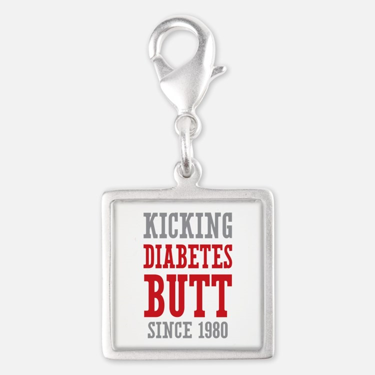 Diabetes Butt Since 1980 Silver Square Charm