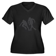 Speed RollerSkating Women's Plus Size V-Neck Dark