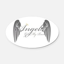 Angels Got My Back Oval Car Magnet