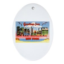 Long Island New York Greetings Oval Ornament