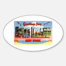 Long Island New York Greetings Oval Decal