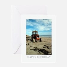 Red Beach Tractor Birthday Card