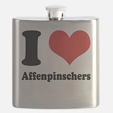 I Heart Affenpinschers Flask