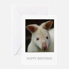Albino Wallaby Birthday Greeting Card