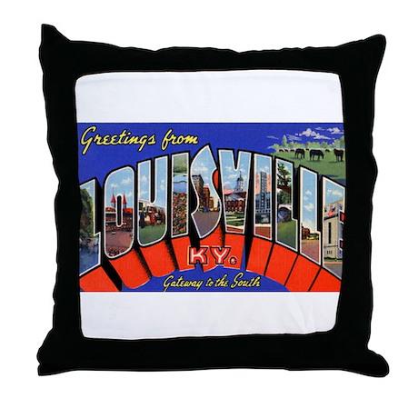 Louisville Kentucky Greetings Throw Pillow