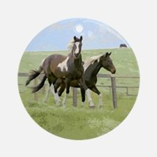 horse Round OrnamentPinto fillies in pasture