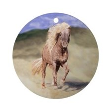 horse Round Ornamentminiature dapple gray horse