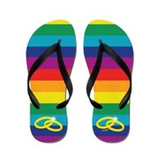 Rainbow Marriage Flip Flops