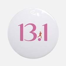 13.1 Half Marathon Runner Girl Ornament (Round)