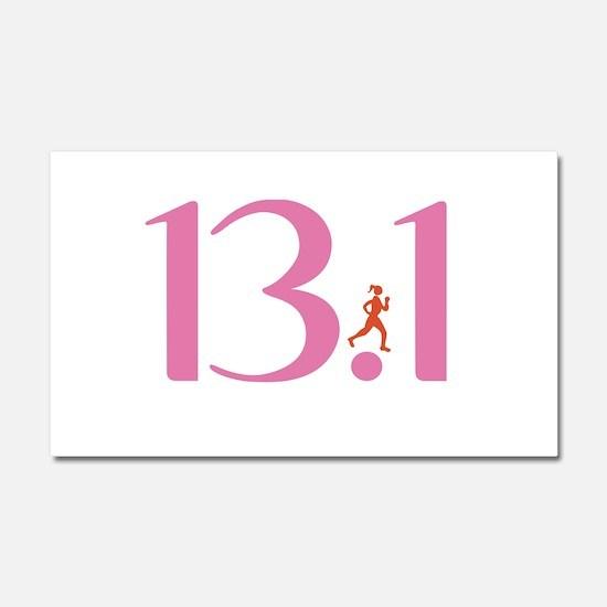 13.1 Half Marathon Runner Girl Car Magnet 20 x 12