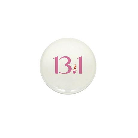 13.1 Half Marathon Runner Girl Mini Button (10 pac