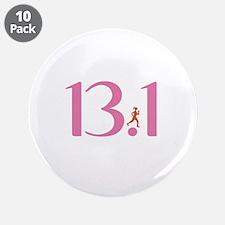 """13.1 Half Marathon Runner Girl 3.5"""" Button (10 pac"""