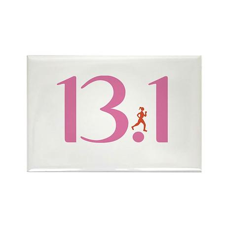 13.1 Half Marathon Runner Girl Rectangle Magnet