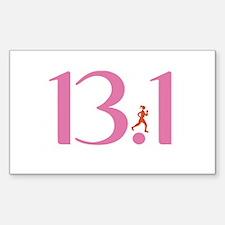 13.1 Half Marathon Runner Girl Decal