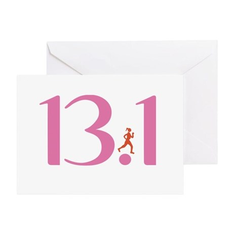 13.1 Half Marathon Runner Girl Greeting Card