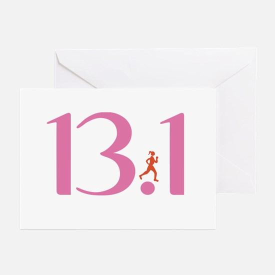 13.1 Half Marathon Runner Girl Greeting Cards (Pk