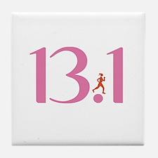 13.1 Half Marathon Runner Girl Tile Coaster