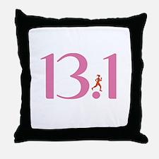 13.1 Half Marathon Runner Girl Throw Pillow