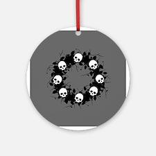 Gothic Skull Wreath Ornament (Round)