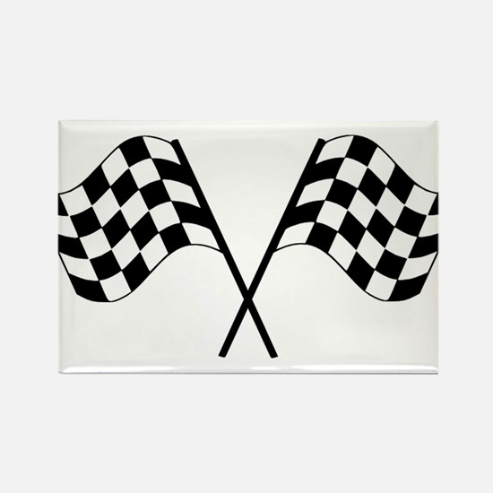 Checked Flags Rectangle Magnet