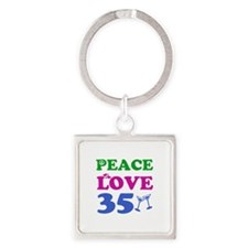 Peace Love 35 Square Keychain
