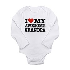 I Love My Awesome Grandpa Long Sleeve Infant Bodys