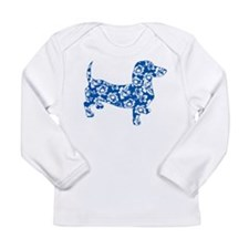 Aloha Doxie in Blue Long Sleeve Infant T-Shirt