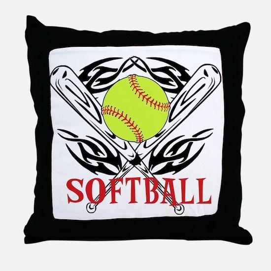 Softball Tribal Throw Pillow