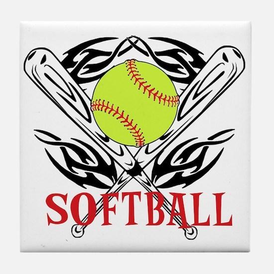 Softball Tribal Tile Coaster