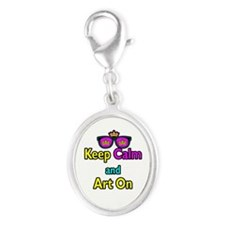 Crown Sunglasses Keep Calm And Art On Silver Oval
