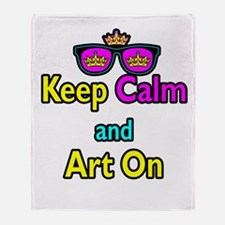 Crown Sunglasses Keep Calm And Art On Throw Blanke