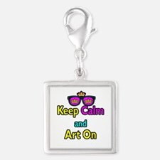 Crown Sunglasses Keep Calm And Art On Silver Squar