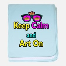 Crown Sunglasses Keep Calm And Art On baby blanket
