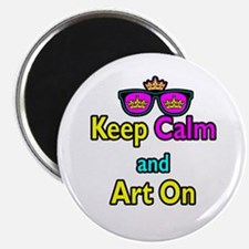 """Crown Sunglasses Keep Calm And Art On 2.25"""" Magnet"""